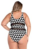 Kaamastra Women's Plus Size Mesh Insert Trigon Print Teddy Swimsuit(CV_LC41429,Black,Freesize)