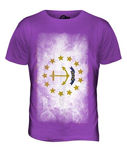 CandyMix Bundesstaat Rhode Island Verblichen Flagge Herren T Shirt Violett