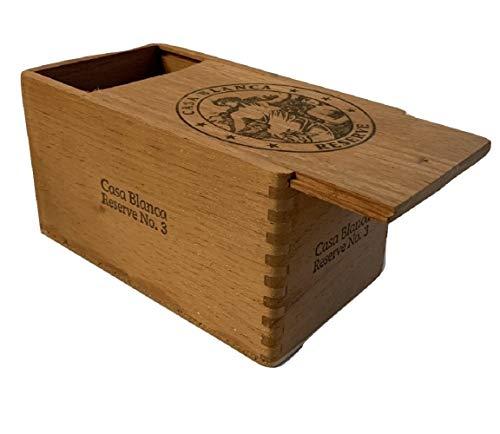 Cigar Zigarrenbox Premium Holz leer Slide Box für Basteln, Gitarren oder Aufbewahrung Casa Blanca Reserve No 3 braun