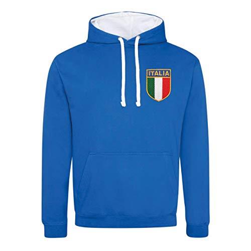Print Me A Shirt Sweat à Capuche brodé pour Homme Style rétro Italie - Bleu - Medium