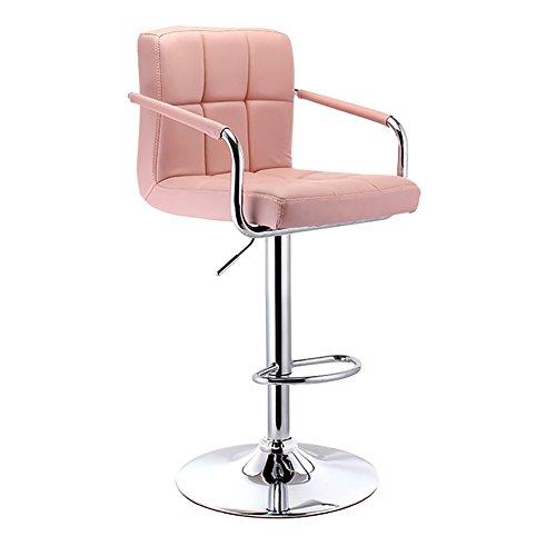 Mena Swivel Chair Barhocker mit verchromten Rahmen 360 Grad, Arme und Rücken Drehküchenhocker Base Max Last 150 kg (Farbe : Pink, größe : 38.5cm) - Nh Swivel
