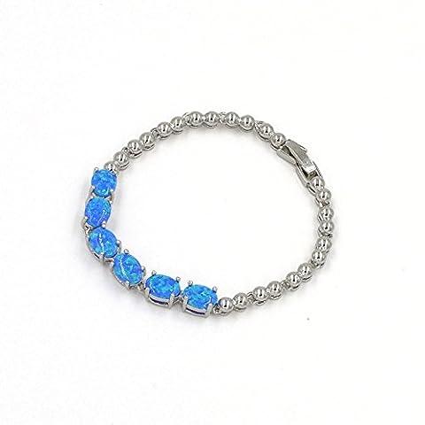 6ovale Tennis Lab Créé Blue Fire Opal pierres précieuses (10* 5mm) Argenté Bracelet, 16,5cm avec rallonge