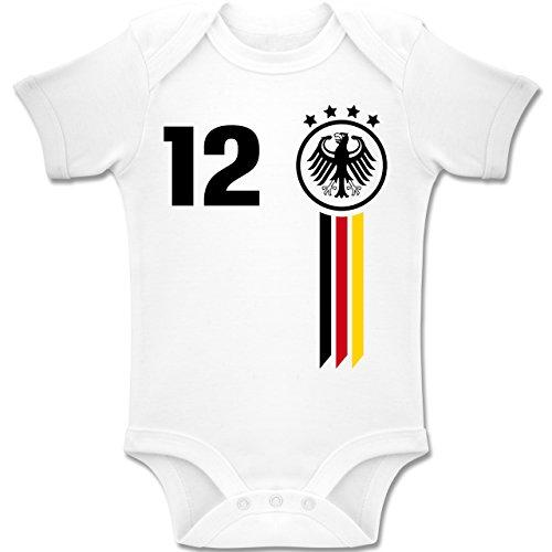 Fußball-Weltmeisterschaft 2018 - Baby - 12. Mann Deutschland WM - 1-3 Monate - Weiß - BZ10 - Baby Body Kurzarm Jungen Mädchen (Männer 3 Monat)