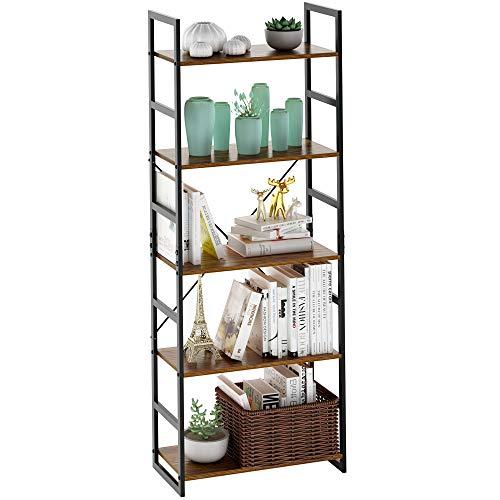 LANGRIA Bücherregal, 5 Reifen, Vintage, Industriebücherregal, mit widerstandsfähigem schwarzem Metallrahmen und stabilem multifunktionalem Antik-Holz-Designregal, 59,9 x 30 x 152,2 cm -