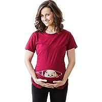 Bold N Elegant Women's Red Half Sleeve Cute Sneak Peek Child Printed Pregnancy Maternity T-Shirt Top Tee