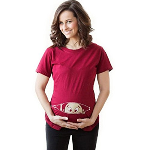 Bold N Elegant Women's Half Sleeve Cute Sneak Peek Child Printed Pregnancy Maternity T-Shirt Top Tee (Red, L)