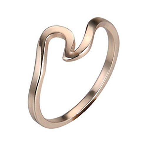 ODN Wellen Ring Damen Ringe Für Geschenk (Rose Gold, 54(17.3))