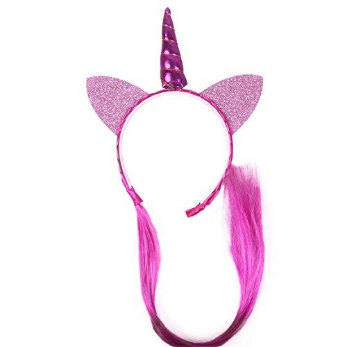 ODN Einhorn Perücke Haarreif-Karneval Fasching und Halloween mit Einhorn Haar und Strähne für Damen, Herren und Kinder (Lila) (Kostüme Mit Lila Haare)