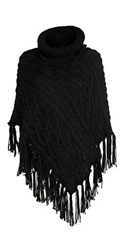 Coline - Poncho à franges Noir