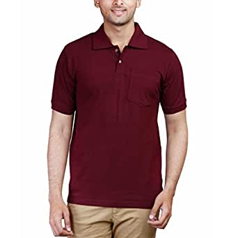 Fleximaa Men's Cotton Polo Collar T-Shirts With Pocket - Maroon Color. Sizes ... (cfpm-xl)