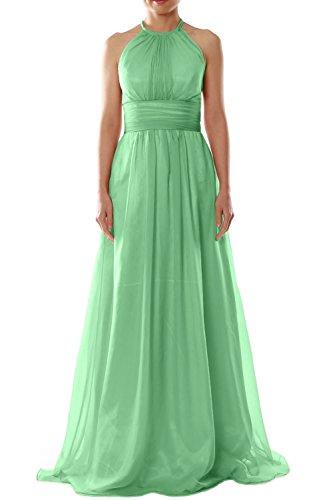 MACloth Women Halter Chiffon Long Bridesmaid Dress Wedding Party Evening Gown Minze