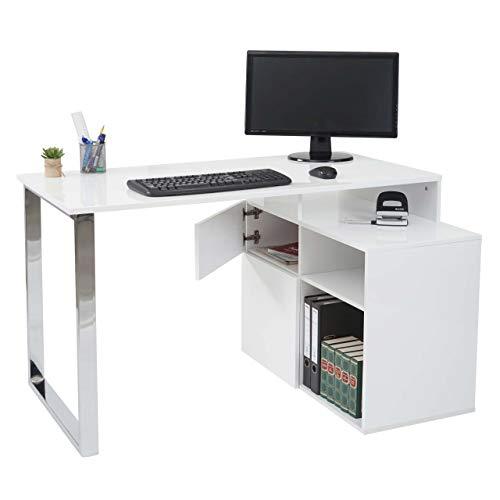 Mendler Eckschreibtisch HWC-A72, Bürotisch Schreibtisch Computertisch, Hochglanz 120x80cm ~ weiß