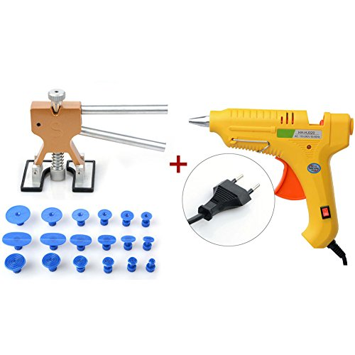 moonvvin PDR Tools 19pcs Riola Repair Tools Set PDR Golden Dent Lifter + PDR Klebstoff Taben Auto Body Dent Entfernung Tools Auto dent entfernen Tool Kit 20pcs