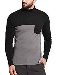 Hypernation Grey And Black Color High Neck Cotton T-shirt For Men