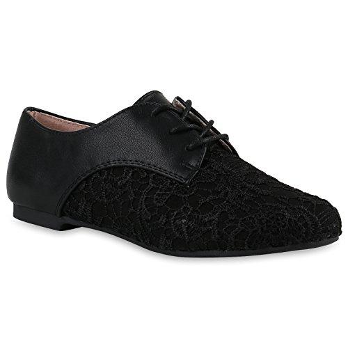 Damen Halbschuhe | Klassische Schnürer Leder-Optik Velours | Basic Schuhe Glitzer Spitze | Schleifen Details | Flache Schuhe Muster Schwarz Muster