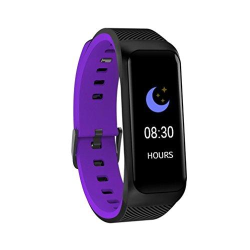 LCLrute Bluetooth Smartwatch Uhr Intelligente Armbanduhr Fitness Tracker Armband Sport Uhr mit/Kamera/Schrittzähler/Schlaftracker/Romte Capture Kompatibel mit Android Smartphone (Lila)