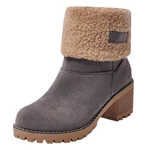 QUICKLYLy Botas de Nieve Mujer,Botines para Adulto,Zapatos Otoño/Invierno 2019 Zapatillas/Calzado Piel Cuero...