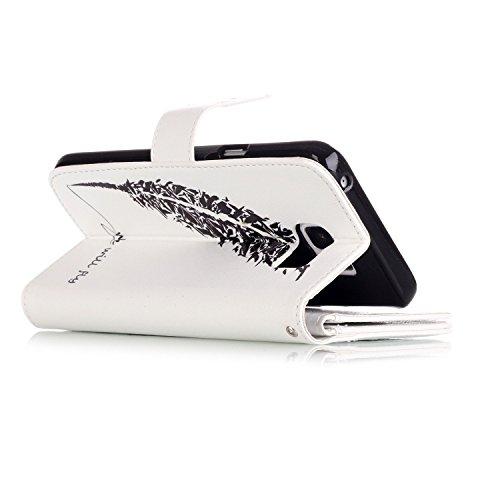 Samsung Galaxy Note 5 Hülle, SainCat Ledertasche Brieftasche im BookStyle PU Leder Muster Hülle Wallet Case Folio Schutzhülle Bumper Handytasche Backcover Handy Tasche Flip Cover Buchstil Klapptasche  Federfeder Unterschrift