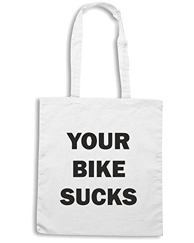 T-Shirtshock - Borsa Shopping TB0124 your bike sucks Bianco
