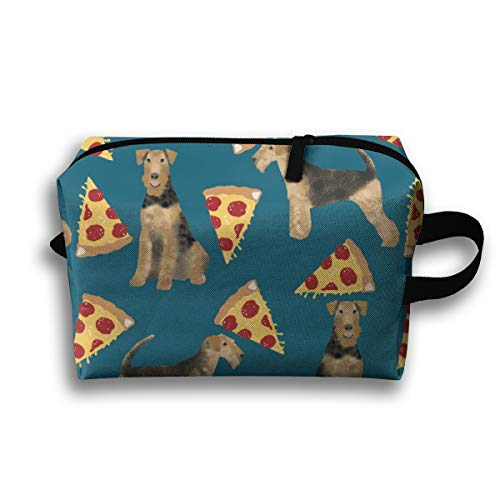 Makeup Cosmetic Bag Airedale Terrier Dog Cute Dogs Food Funny Pizza - Sapphire Blue_1700 Medicine Bag Zip Travel Portable Storage Pouch for Mens Womens 10x4.9x6.3 Inch