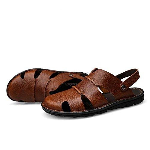 Sandali di cuoio degli uomini pattini di acqua di modo pattinatore di spiaggia molle di estate Brown