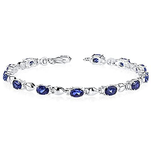 Revoni Exquisite Classic: Oval Shape Blue Sapphire Gemstone Bracelet in Sterling Silver
