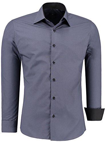 Herren-Hemd – Slim Fit – Bügelfrei / Bügelleicht – Für Business Freizeit Hochzeit – J'S FASHION - Anthrazit - K - XL