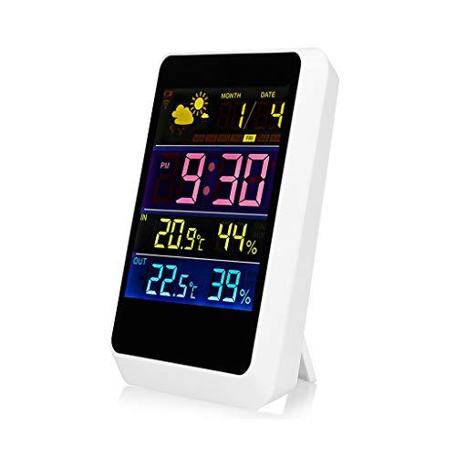 Wireless Digital Wecker Wetterstation Indoor Outdoor Sensor Temperatur Luftfeuchtigkeit Prognose Wetterüberwachung Uhren (Color : White, Größe : 10 * 3 * 14.5cm)