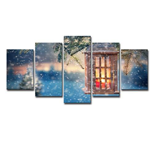 5 aufeinanderfolgende Kunst Schnee, Bäume, Laternen, Dekorationen, Kerzen, dekorative Malerei der frohen Weihnachten ()