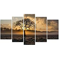 RIsxffp 5Pcs Tree Sunrise Landscape Painting Wall Picture Poster Living Room Home Decor
