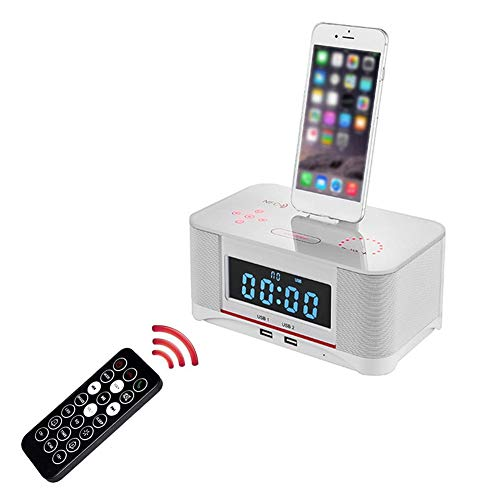 Rikey 4.0 Bluetooth-Dual-Alarm-FM-Radiowecker mit Freisprechfunktion, Akku-Backup, Schlummer- und Sleep-Timer, großes Display, NFC-Kompatibilität, Dock für iPhone/Ipad/Ipod (Iphone Wecker 4 Radio)
