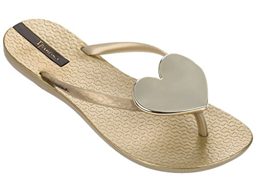 Ipanema Women's Maxi Heart Plastic Flip Flop Gold-Gold-7 Size 7