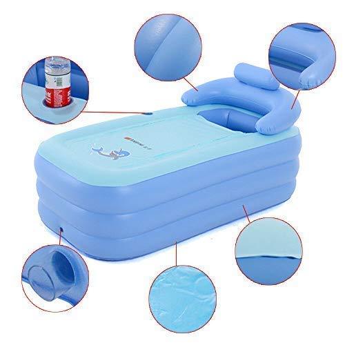 HaroldDol Aufblasbare Badewanne Erwachsene Badewanne PVC Faltbare Schlauchboot Spa Babybecken Blau