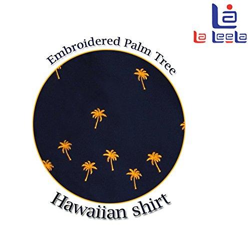 LA LEELA Strand Hawaiihemd Herren XS - 5XL Kurzarm Front-Tasche Hawaii-Print Casual Button Down Hemd Navy Blau Marineblau