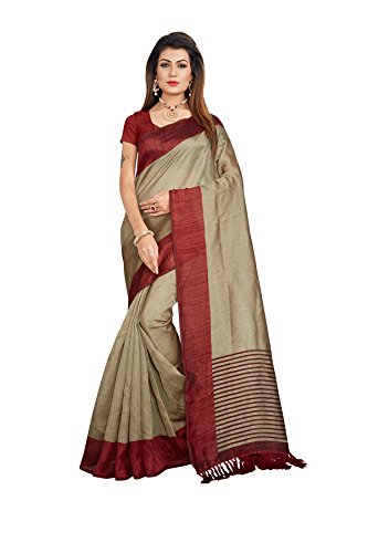 Gaurangi Creation Women\'s Art Silk Saree (MNB1001_Beige & Maroon_Free Size)
