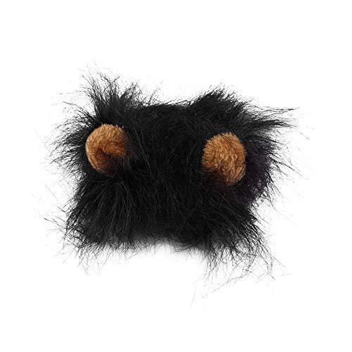 Haustier Kostüm Lion Mähne Perücke für Katze Halloween Christmas Party Dress Up mit Ohr schwarz M