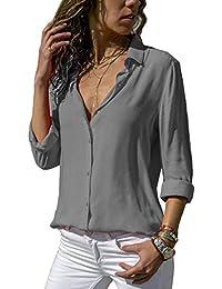 ZC GF Damen Bluse Chiffon Elegant Langarm Oberteile Einfarbig V-Ausschnitt  Hemdbluse Asymmetrisch T-Shirt 22336403be