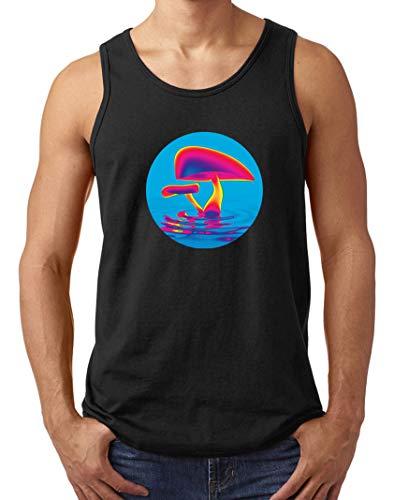 Herren Psychedelic Mushroom Logo Muskelshirt Tank Top T-Shirt Schwarz S