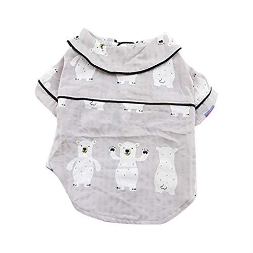 JKRTR Mode-Haustier-Frühling und Sommer-Hemd, das Zwei-beinige Hundedünne Neue Dünnschliff Kleidung(Grau,L)