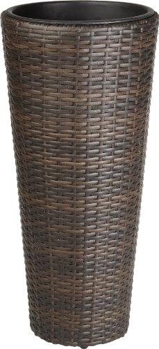 Weles GMBH Gartenfreude 4000-1001-022 Pot de Fleurs en résine tressée pour extérieur/intérieur avec Insert en Plastique étanche Marron Bicolore 28 x 60 cm