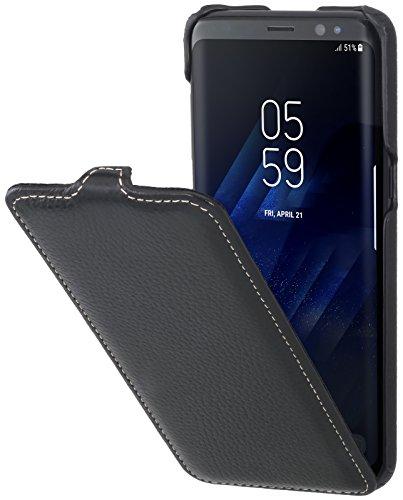 StilGut UltraSlim Case Hülle Leder-Tasche für Samsung Galaxy S8. Dünnes Flip-Case vertikal klappbar aus Echtleder für das Original Samsung Galaxy S8, Schwarz