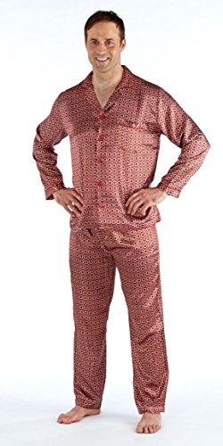 Men's Satin Pyjama Sets Nightdress Silky Satin Long Satin Pajamas L -Maroon