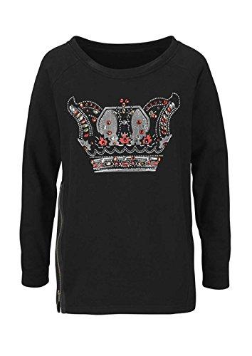 Laura Scott Damen-Shirt Sweatshirt mit Strass Mehrfarbig Größe 40/42