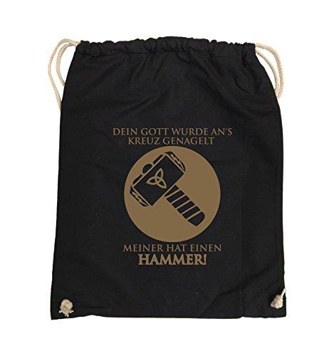 Comedy Bags - DEIN GOTT KREUZ - MEINER HAMMER - Turnbeutel - 37x46cm - Farbe: Schwarz / Silber Schwarz / Hellbraun