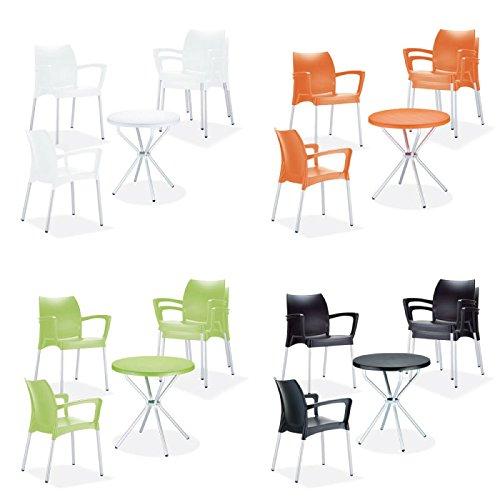 CLP Terrassen Sitzgruppe GOYA - 4 stapelbare Gartenstühle Dolce + 1 runder Gartentisch Ø 70 cm - leicht, stabil, wetterfest Weiß