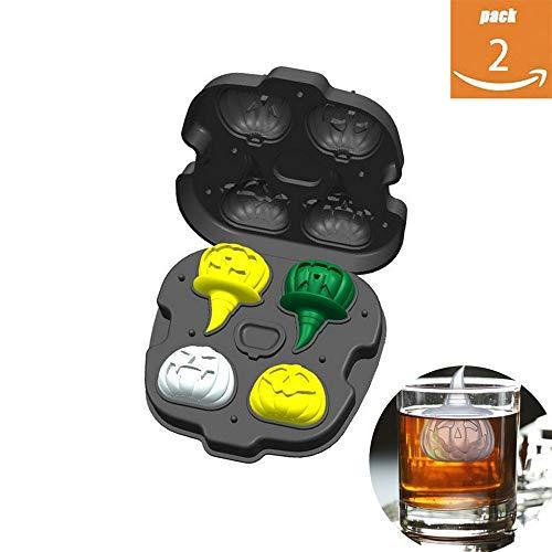 CHYOOO Eiswürfelform 2 Stück Halloween Kürbis Eiswürfel Food Grade Silikon Ohne BPA Wiederverwendbar Eiswürfelbehälter Geeignet Für Küchenparty Bar Whisky,Black*2
