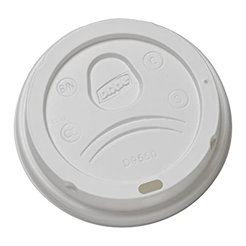Dixie D9550 Plastic Dome Lid Fits 20 oz. and 24 oz. Dixie Paper Hot Cups, White (Case of 10 Packs, 100 Lids per Pack)