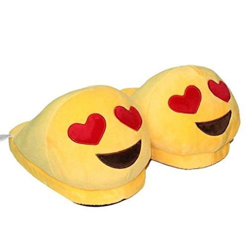DELEY Unisex de dibujos animados Emoji Zapatillas de Invierno Cálido Expresión de la Felpa de la Casa de los Zapatos El Corazón En Los Ojos RW0HkpQxrn