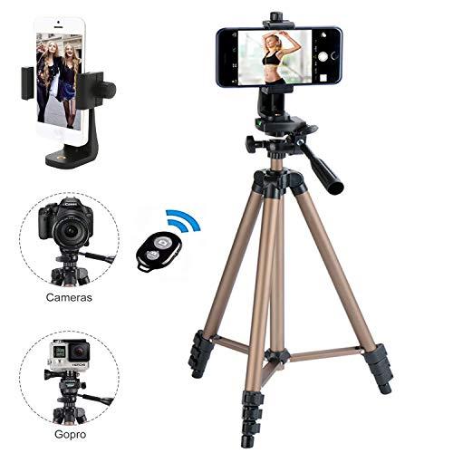 Kamera-handy (Kamera Stativ, iPhone Stativ, mit Handy Halterung und Bluetooth Fernbedienung Handy Stativ für iPhone Samsung und Kamera Mini Smartphone Stativ)