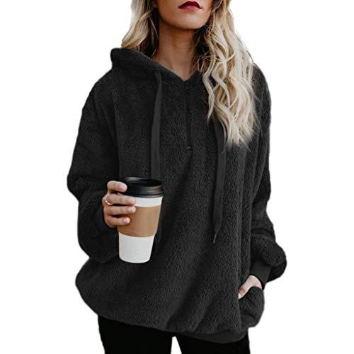 ZOUCY Oversized Women Pullover Hoodie Zipper Front Long Sleeve Sweatshirt Solid Pocket - Black - Large